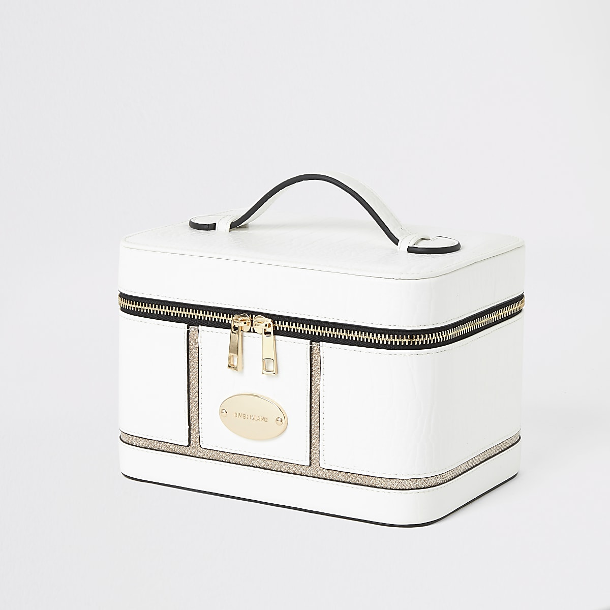 b835c6761 White croc embossed vanity case - Makeup Bags - Bags & Purses - women