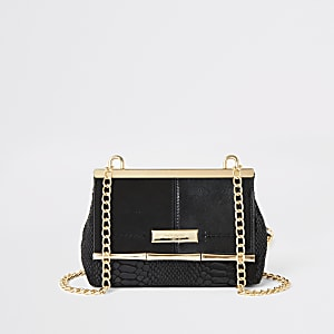 Black flap front mini cross body bag
