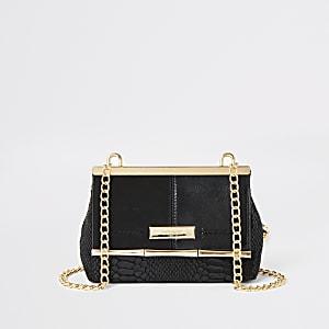 Zwarte kleine crossbodytas met flap voor