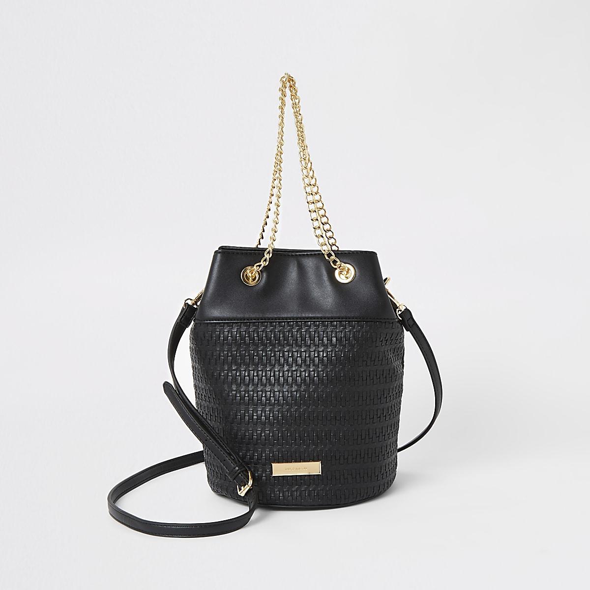 Black woven bucket bag