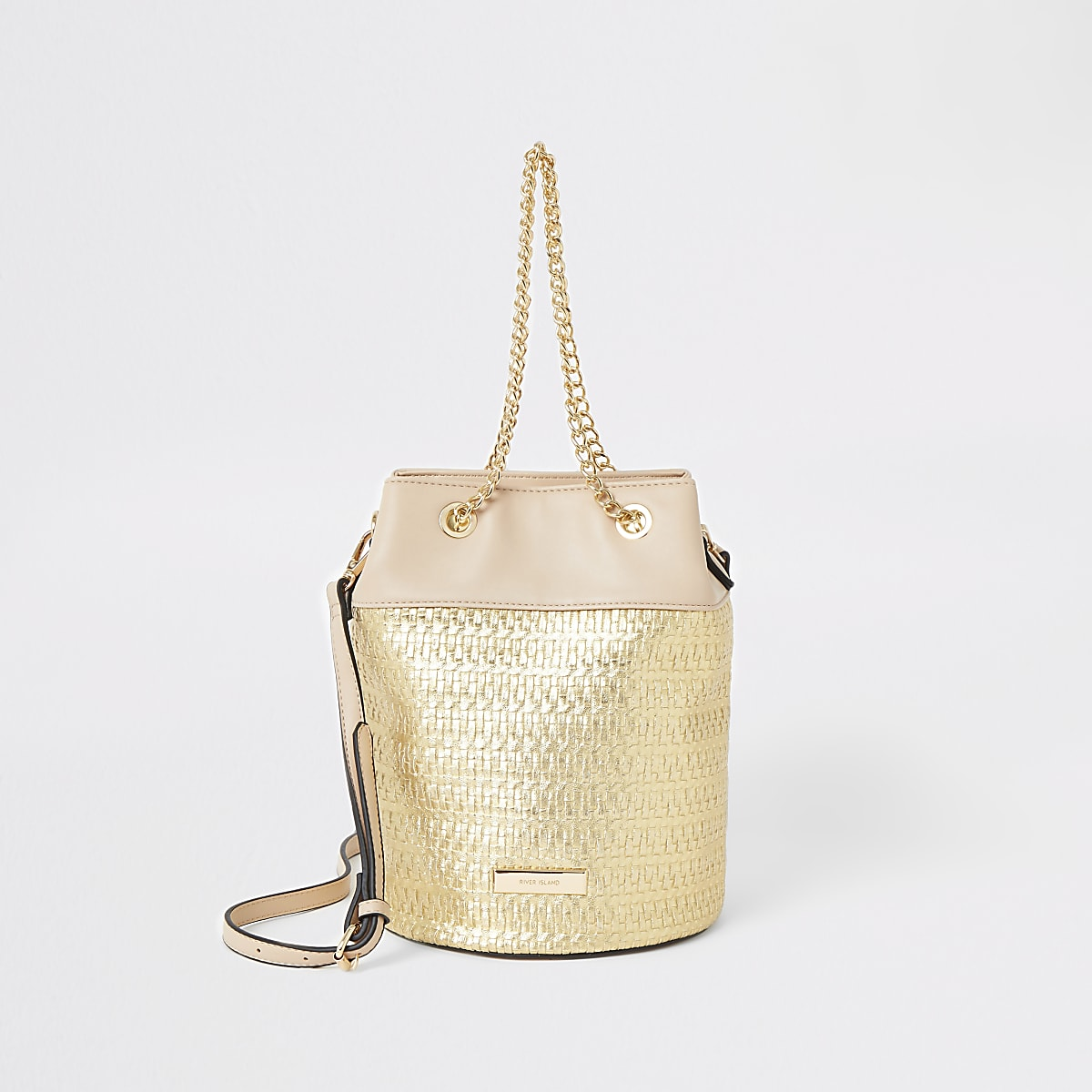 Gold woven bucket bag