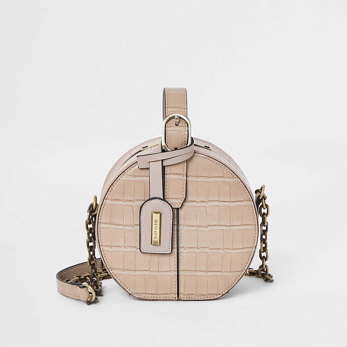 Light pink croc vanity cross body bag