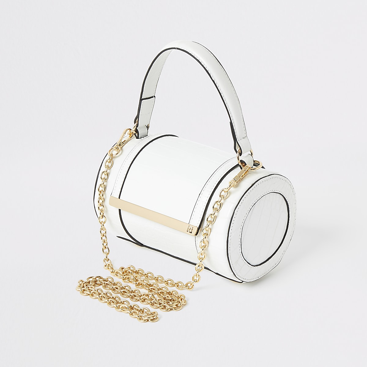 White croc barrel cross body bag