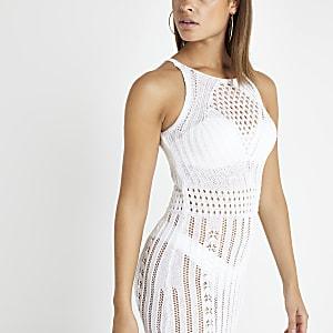 Witte gehaakte midi-jurk
