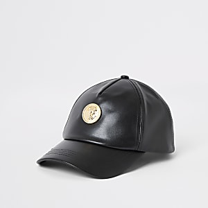 Schwarze Kappe aus Lederimitat