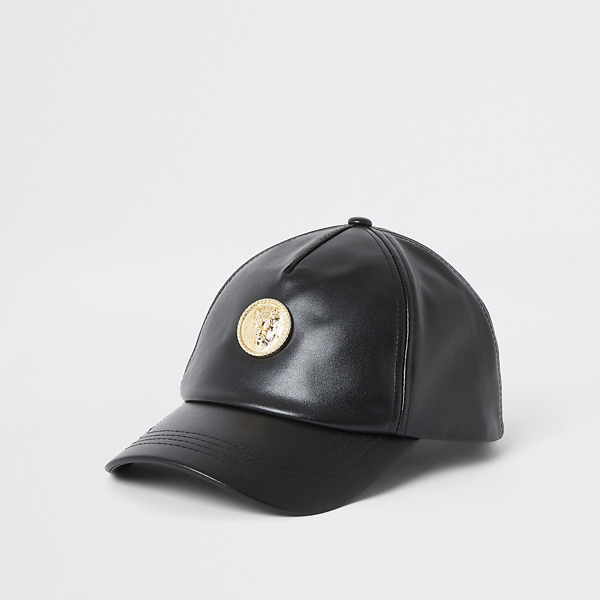 Black faux leather lion cap