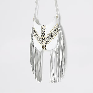 White leather tassel cross body bag