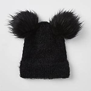 Black double pom pom beanie hat