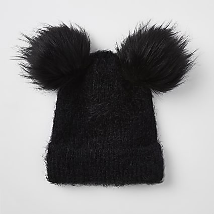 Black double pom pom beanie hat