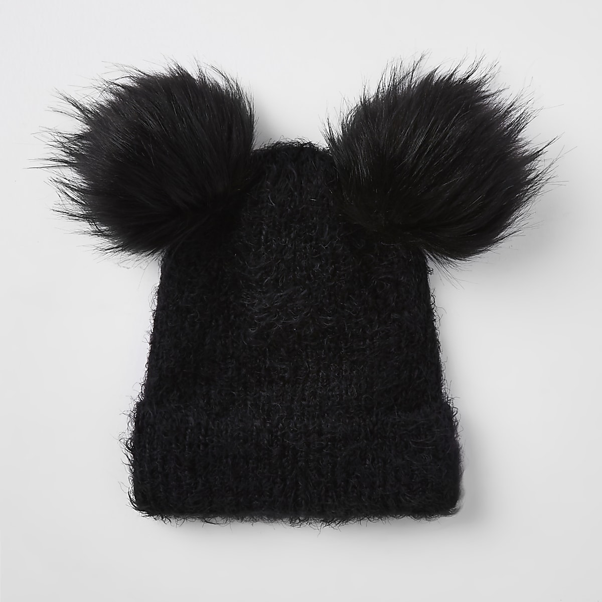 c05d4c95 Black double pom pom beanie hat - Hats - Accessories - women