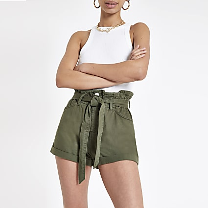 Khaki paperbag belted denim shorts