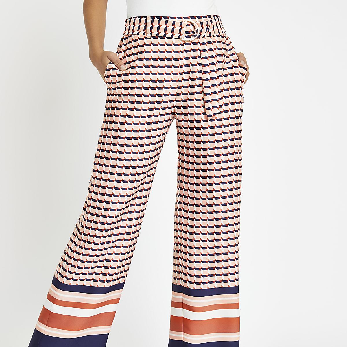 Pink geo print wide leg trousers