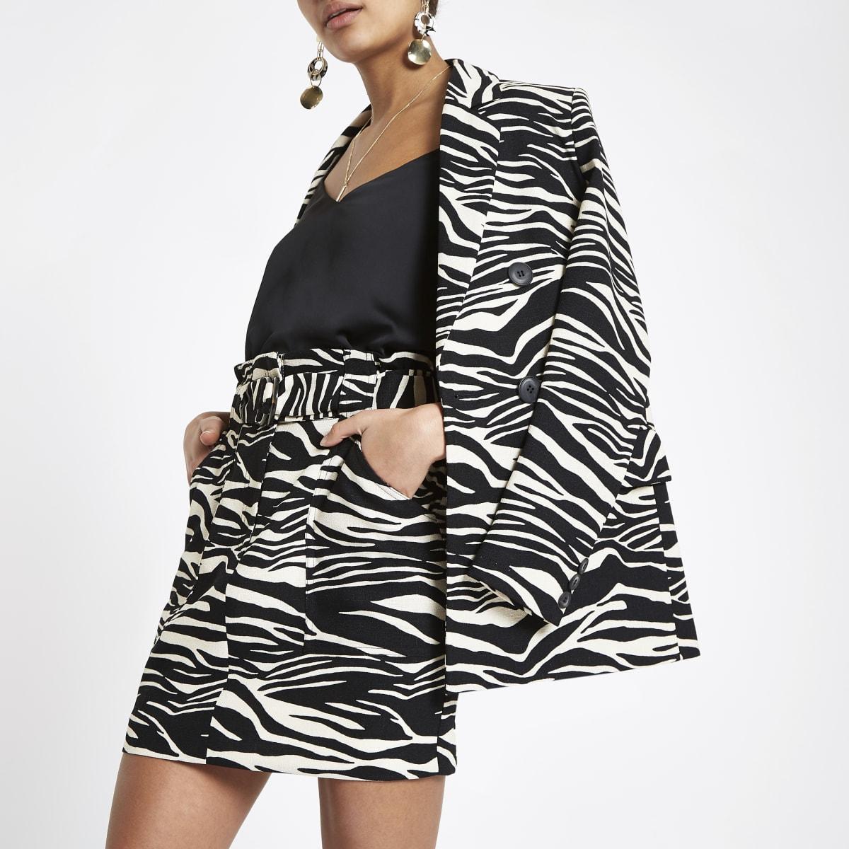 Black zebra print paperbag skirt