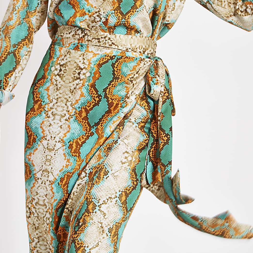 Turquoise snake print wrap midi skirt