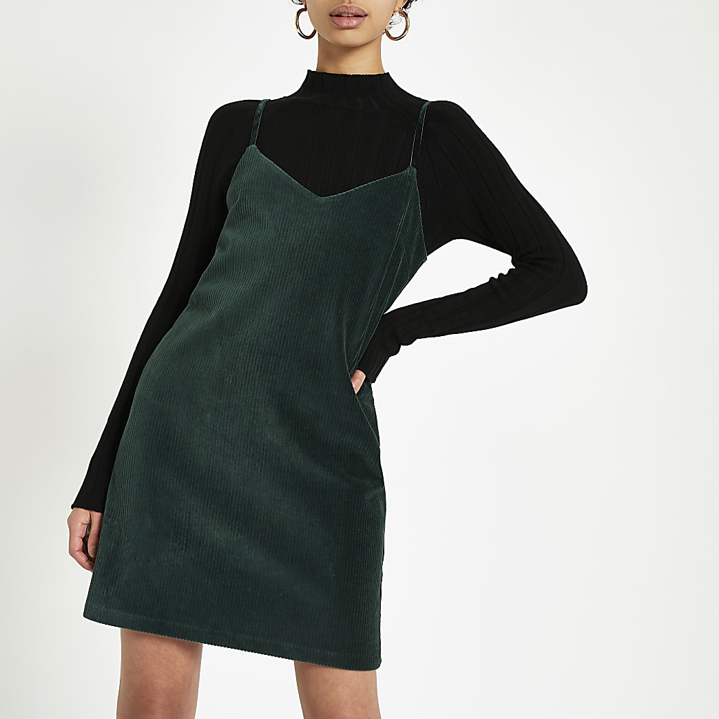 Dark green cord slip dress