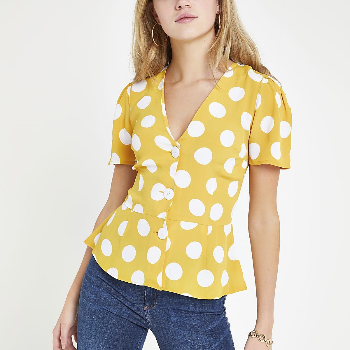 Yellow spot print tea top