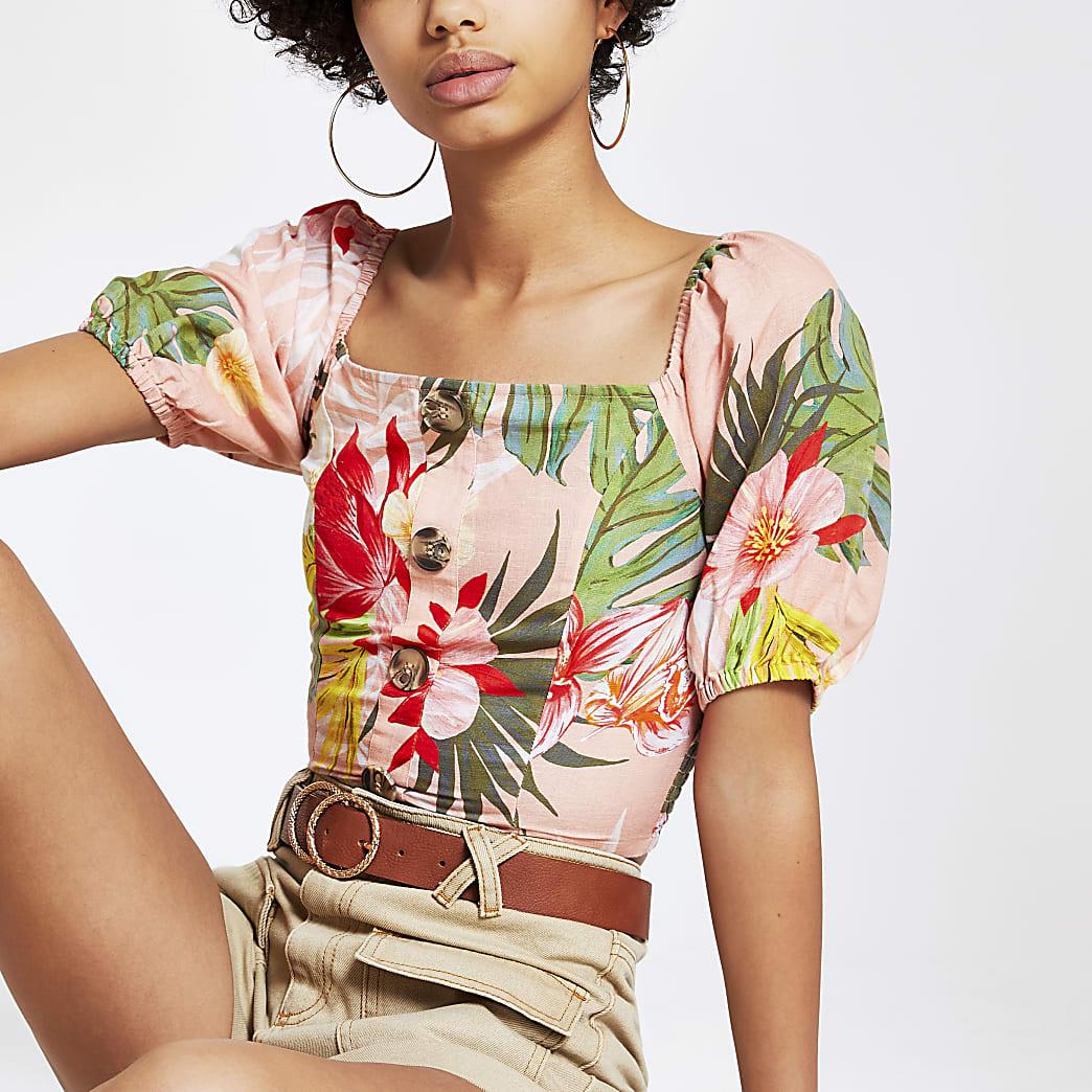 Pink floral puff sleeve crop top