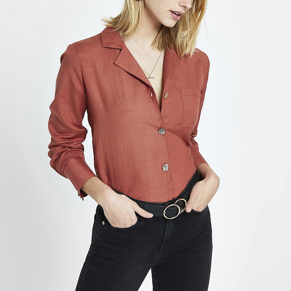 Oranje overhemd met knopen voor en lange mouwen