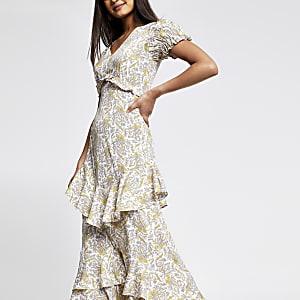 Crème maxi-jurk met paisleyprint