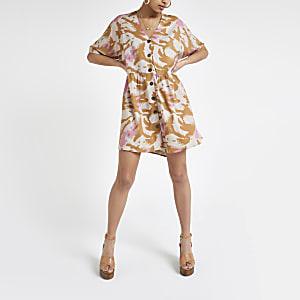 Swing-Kleid mit Camouflage-Print in Beige