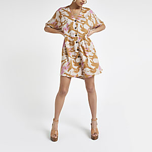 Beige camo swing dress