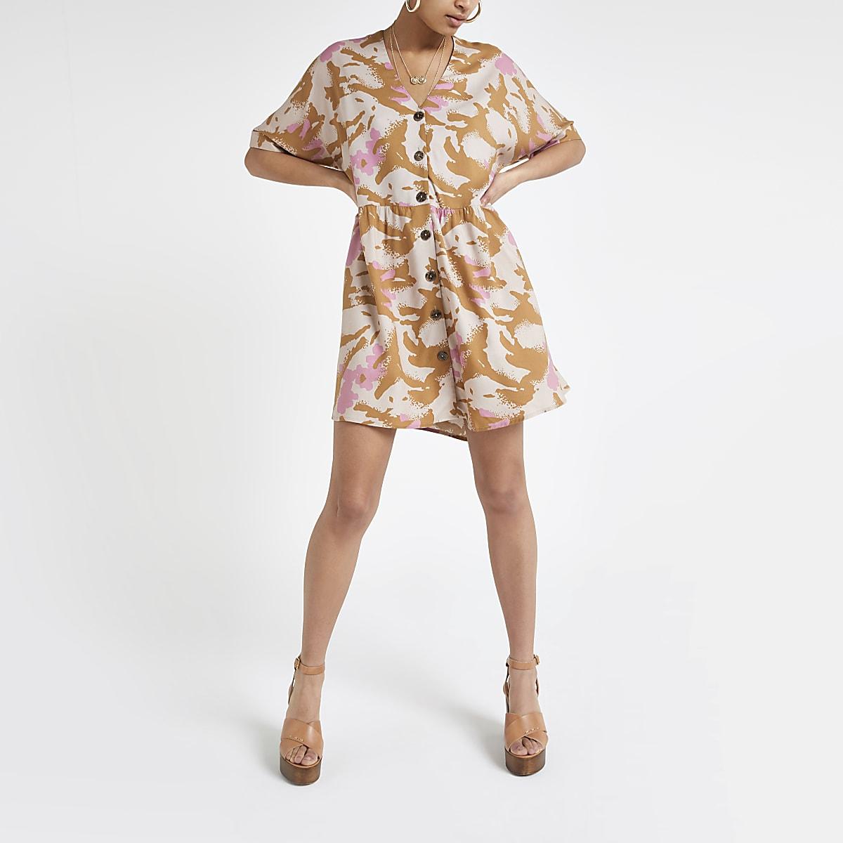 Beige camo swing dress
