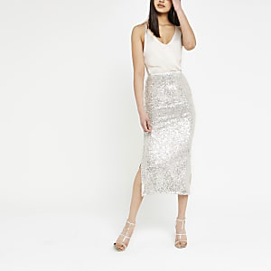 Silver sequin embellished pencil skirt