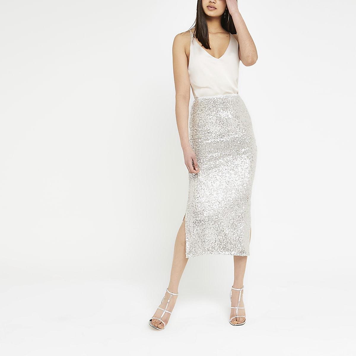 Silver sequin embellished pencil skirt