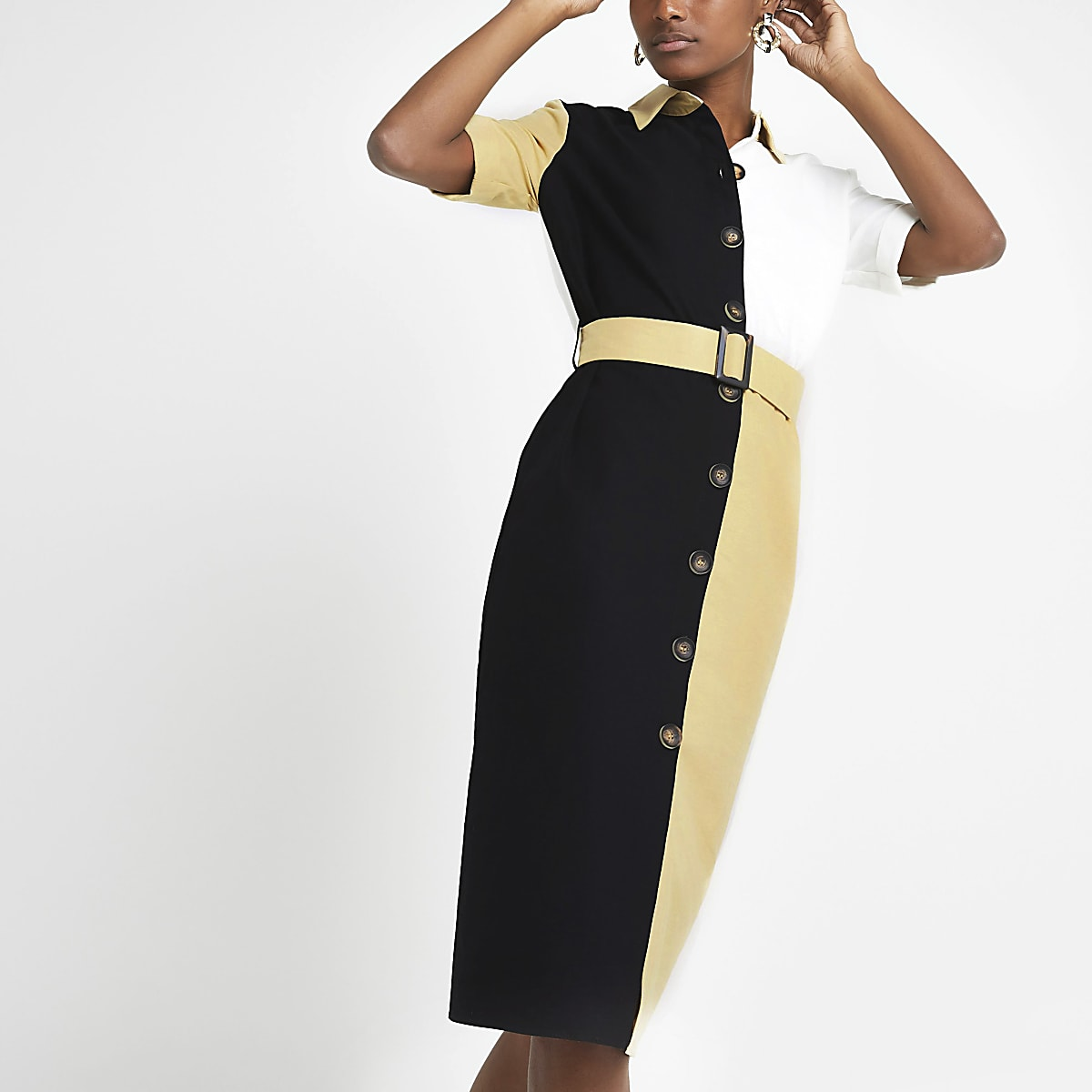 Light brown block belted shirt dress