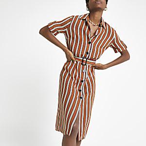 Robe chemise rayée marron