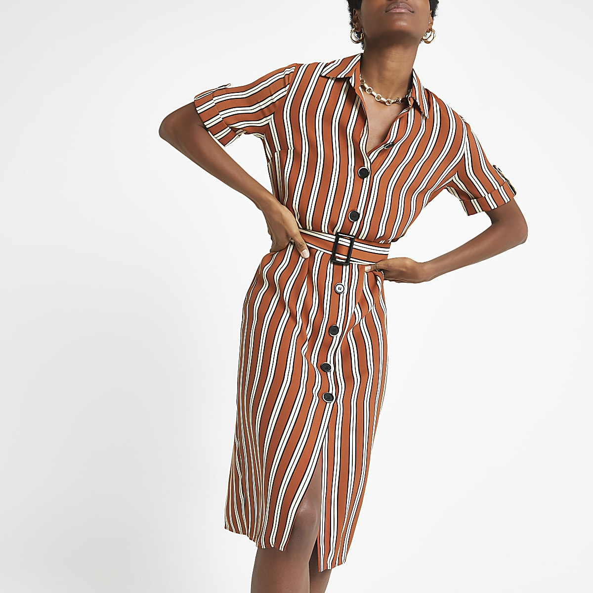 Brown stripe shirt dress