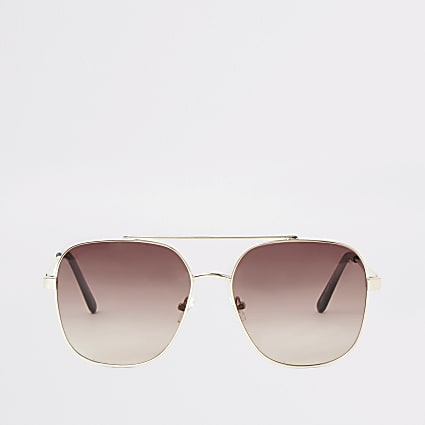 Gold tone pink lens sunglasses
