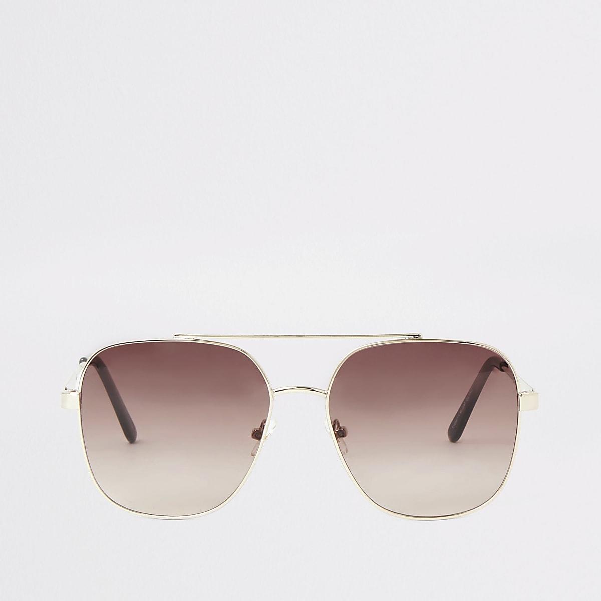 Gold tone pink lens sunglasses