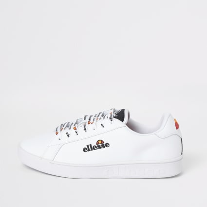 Ellesse white Campo embroidered trainers