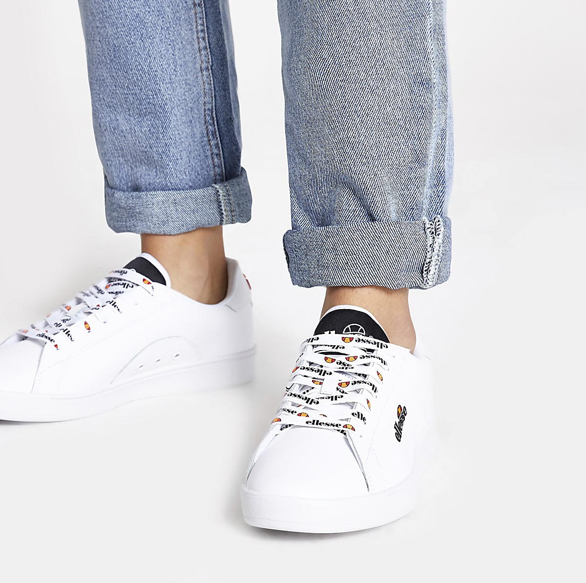 ecdecfc7 Ellesse white Campo embroidered trainers