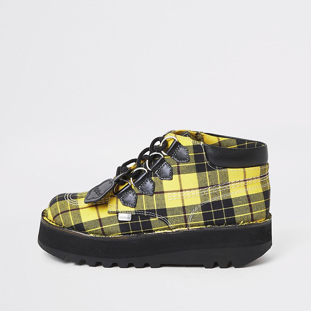 Kickers yellow check Hi creeper boots
