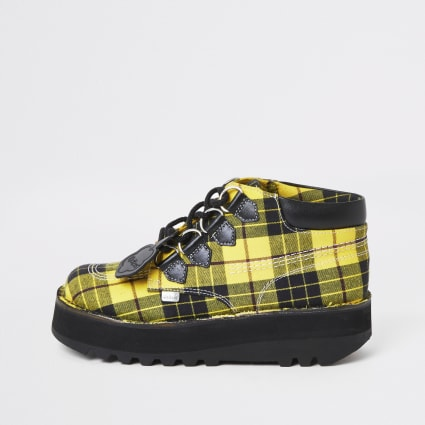 Kickers yellow check Hi creeper boots