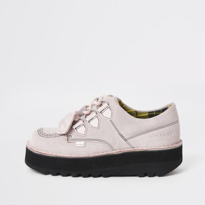 Kickers light pink Lo Stack creeper boots