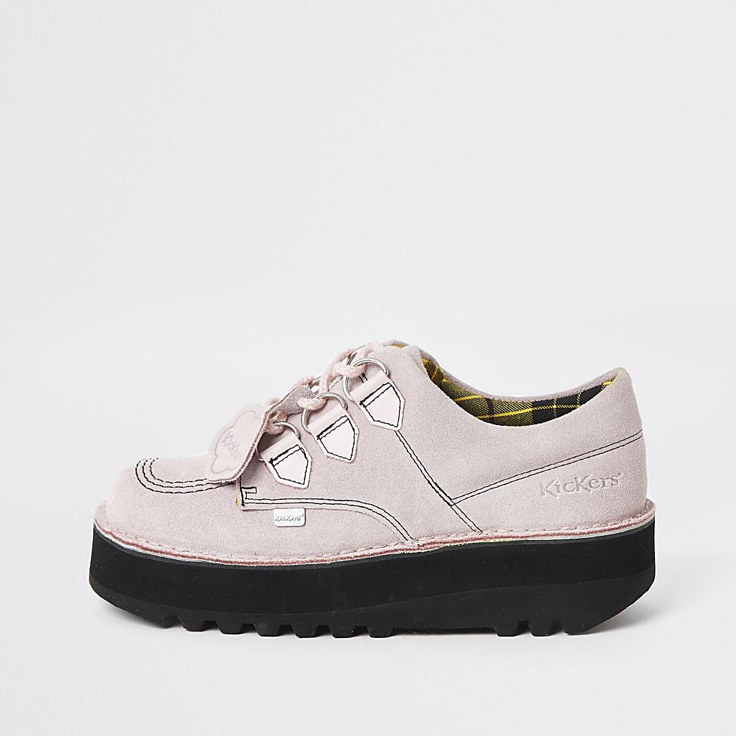 Kickers - Lichtroze lage creeper schoenen