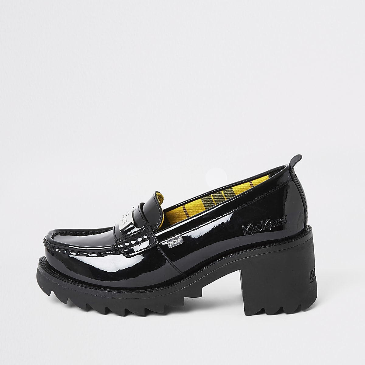 Kickers black leather patent heeled loafers