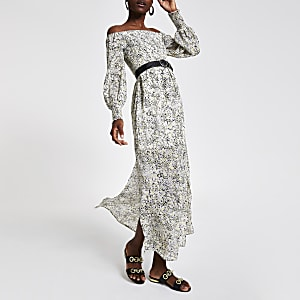 Yellow print bardot maxi dress