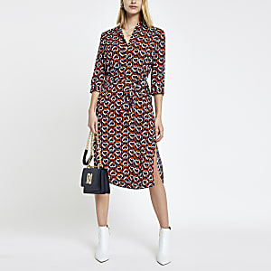 Navy heart print tie waist shirt dress