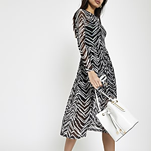 White zebra print mesh midi dress