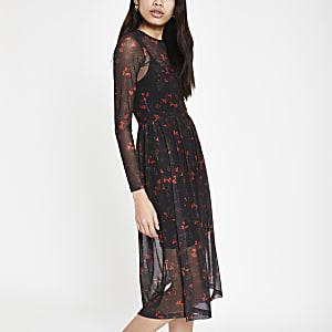 Zwarte gebloemde midi-jurk met mesh