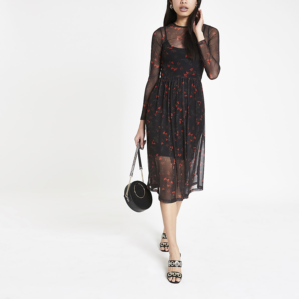 d65c814b893 Black floral mesh midi dress - Swing Dresses - Dresses - women