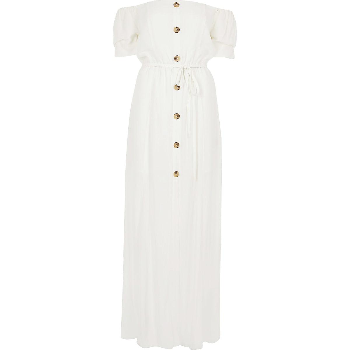 55ca9a817b8 White bardot button front maxi dress - Maxi Dresses - Dresses - women