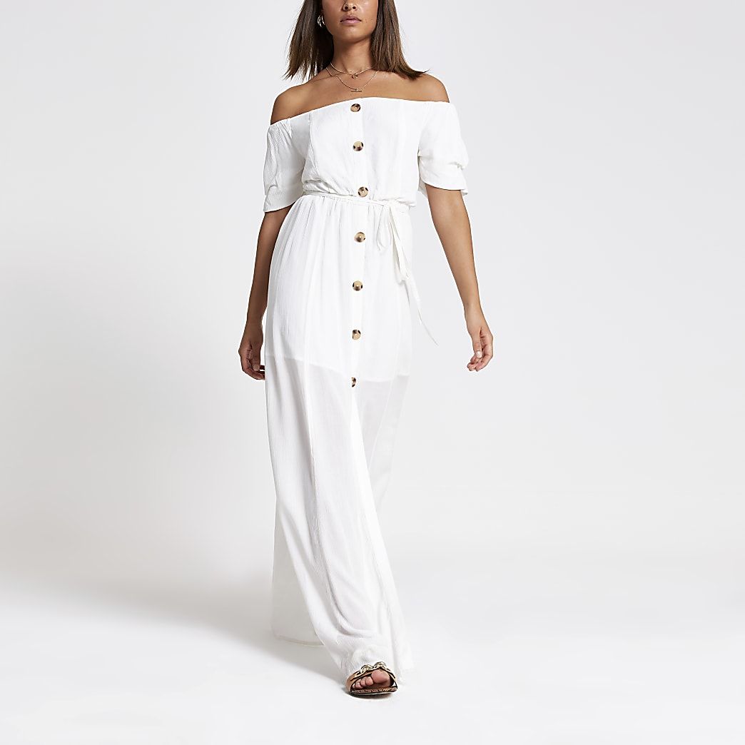 White bardot button front maxi dress