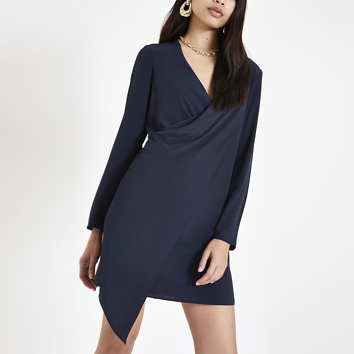 Navy drape front swing dress