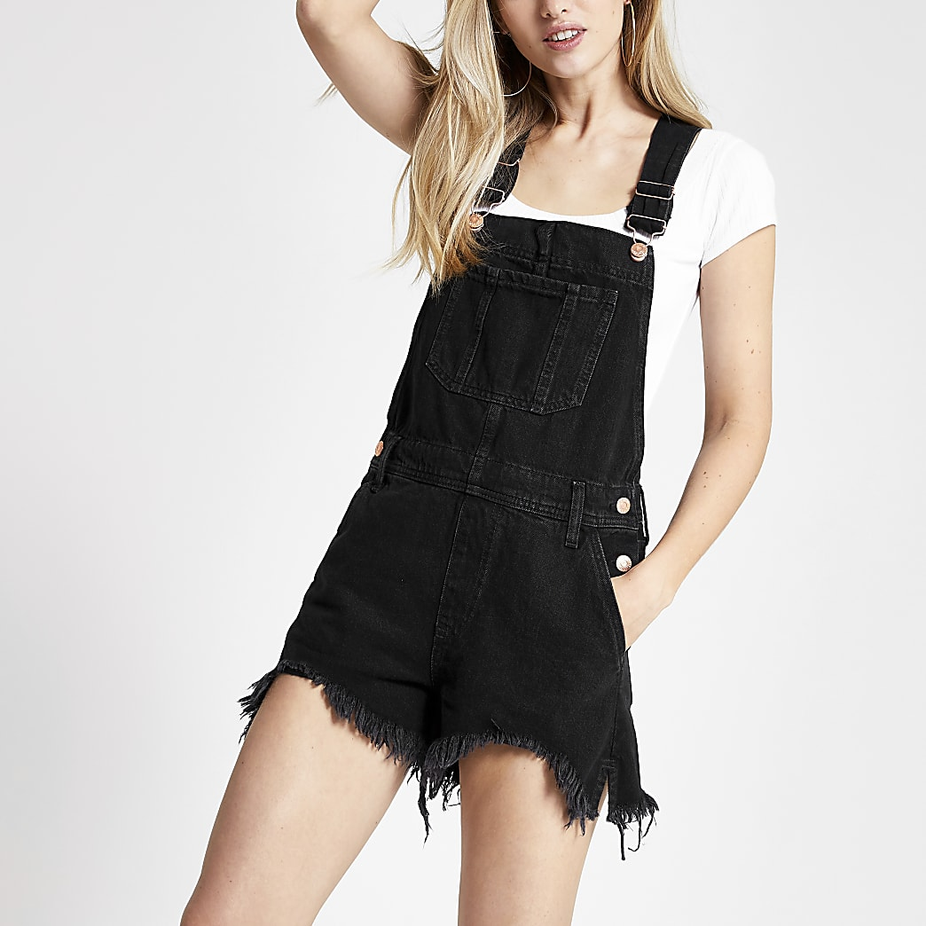 Black short denim dungarees