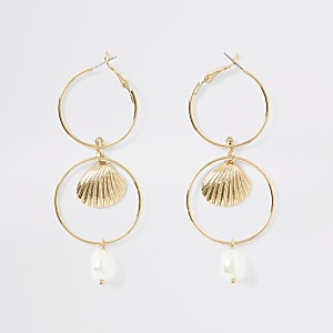 Gold color pearl drop interlinked earrings